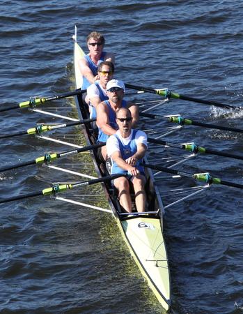 BOSTON - OCTOBER 20  Cambridge Boat Club races in the Directors  Challenge Quad Men in the Head of Charles Regatta on October 20, 2013 in Boston, MA