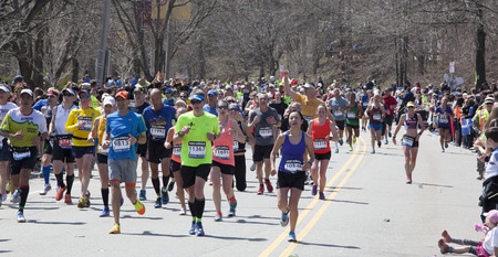 BOSTON - APRIL 21  Nearly 36000  runners participated in the Boston Marathon on April 21, 2014 in Boston  Meb Keflezighi  USA  finished first with a time of 2 08 37