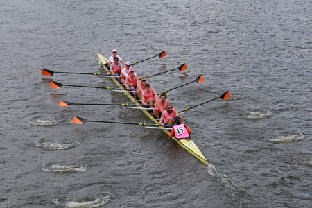 eights: BOSTON - OCTOBER 19, 2014: Princeton University races in the Head of Charles Regatta Mens Championship Eights