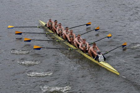 eights: BOSTON - OCTOBER 19, 2014: Us Naval Academy races in the Head of Charles Regatta Mens Championship Eights Editorial