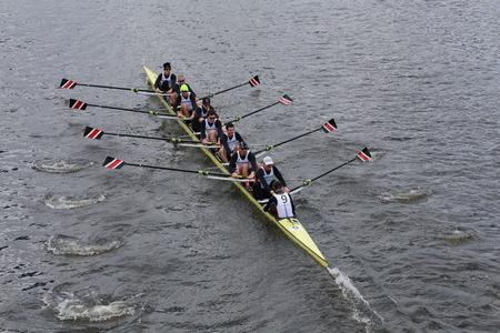 northeastern: BOSTON - OCTOBER 19, 2014: Northeastern University races in the Head of Charles Regatta Mens Championship Eights Editorial