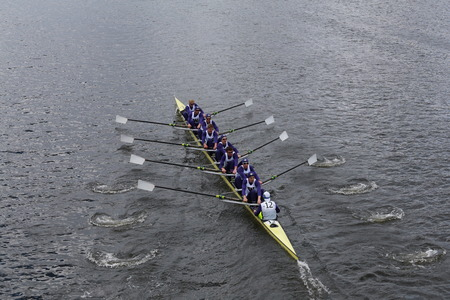 eights: BOSTON - OCTOBER 19, 2014: Washington University races in the Head of Charles Regatta Mens Championship Eights