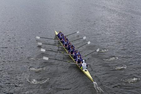 eights: BOSTON - OCTOBER 19, 2014: Washington University races in the Head of Charles Regatta Mens Championship Eights