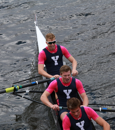 sculling: BOSTON - OCTOBER 19, 2014: Yale University races in the Head of Charles Regatta Mens Championship Eights