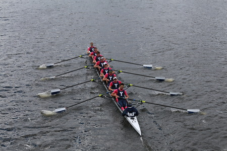 eights: BOSTON - OCTOBER 19, 2014: Yale University races in the Head of Charles Regatta Mens Championship Eights