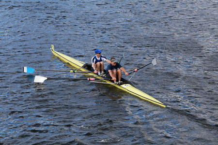 cbc: BOSTON - OCTOBER 19, 2014: CBC rowing with Eric Lev and Joe Linhoff race in the Head of Charles Regatta Men\\