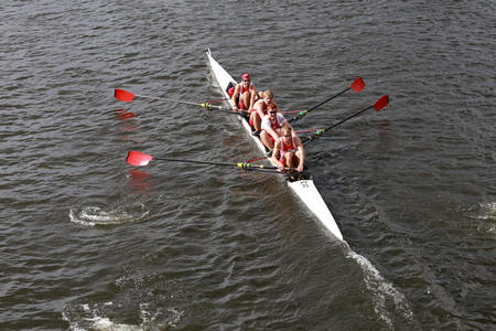 university of wisconsin: BOSTON - OCTOBER 19, 2014: University of Wisconsin races in the Head of Charles Regatta Mens Championship Fours