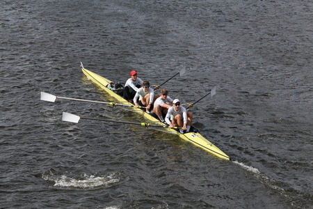 BOSTON - OCTOBER 19, 2014: Cambridge University races in the Head of Charles Regatta Mens Championship Fours
