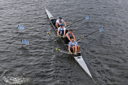 BOSTON - OCTOBER 19, 2014: Riverside Boat Club races in the Head of Charles Regatta womens Championship Fours