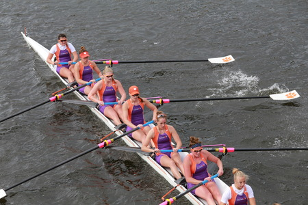 eights: Clemson University races in the Head of Charles Regatta Womens Championship Eights
