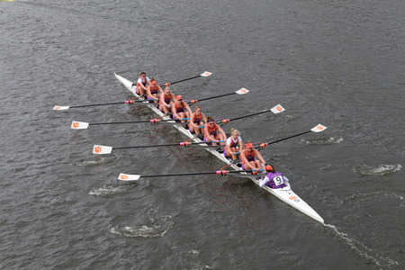 Clemson University races in the Head of Charles Regatta Womens Championship Eights