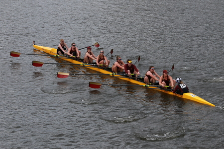 Minnesota University races in the Head of Charles Regatta Womens Championship Eights