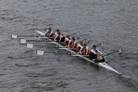 eights: Oxford University races in the Head of Charles Regatta Womens Championship Eights