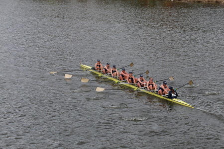 eights: Notre Dame University races in the Head of Charles Regatta Womens Championship Eights Editorial