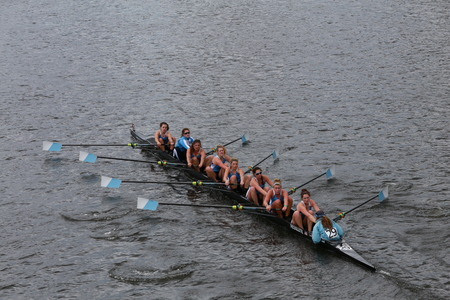 eights: Columbia University races in the Head of Charles Regatta Womens Championship Eights