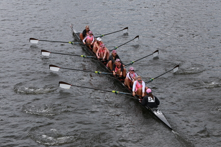 eights: Brown University races in the Head of Charles Regatta Womens Championship Eights