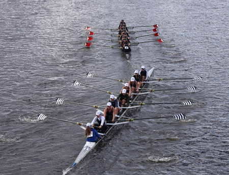 marin: BOSTON - OCTOBER 18, 2015: Saratoga bottom and Marin Rowingtop races in the Head of Charles Regatta Womens Youth Eights Editorial