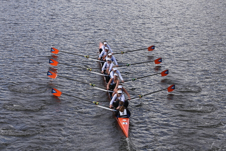 eights: BOSTON - OCTOBER 18, 2015: OKC Riversport races in the Head of Charles Regatta Womens Youth Eights Editorial