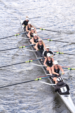 eights: BOSTON - OCTOBER 18, 2015:  Saugatuck races in the Head of Charles Regatta Womens Youth Eights