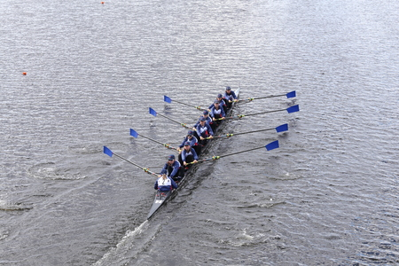eights: BOSTON - OCTOBER 18, 2015: Princeton National Rowing Association races in the Head of Charles Regatta Womens Youth Eights