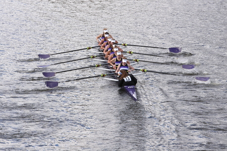 sculling: BOSTON - OCTOBER 18, 2015: Mount Saint Joseph races in the Head of Charles Regatta Womens Youth Eights