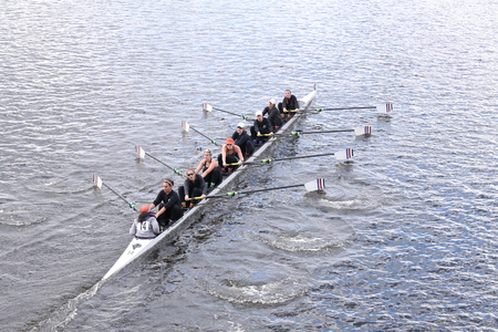 dominion: BOSTON - OCTOBER 18, 2015: Old Dominion races in the Head of Charles Regatta Womens Youth Eights