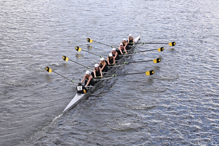eights: BOSTON - OCTOBER 18, 2015: Upper Arlington races in the Head of Charles Regatta Womens Youth Eights Editorial