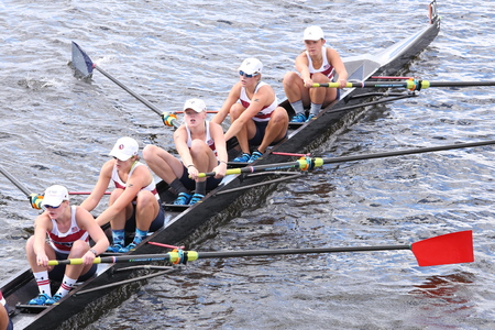 sculling: BOSTON - OCTOBER 18, 2015: TBC Racing races in the Head of Charles Regatta Womens Youth Eights