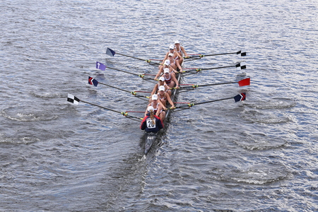eights: BOSTON - OCTOBER 18, 2015: TBC Racing races in the Head of Charles Regatta Womens Youth Eights