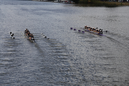 sculling: BOSTON - OCTOBER 18, 2015: Rose City Rowing left and Mount Saint Joseph right races in the Head of Charles Regatta Womens Youth Eights