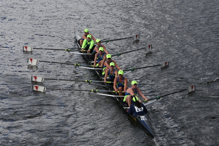 eights: BOSTON - OCTOBER 18, 2015: Resilient Rowing Club races in the Head of Charles Regatta Womens Youth Eights