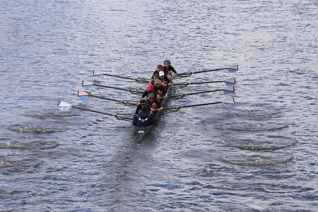 coed: BOSTON - OCTOBER 18, 2015: Detroit Rowing races in the Head of Charles Regatta Womens Youth Eights Editorial