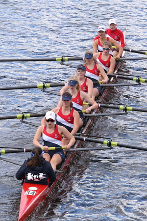 eights: BOSTON - OCTOBER 18, 2015: Sammish Rowing Association races in the Head of Charles Regatta Womens Youth Eights
