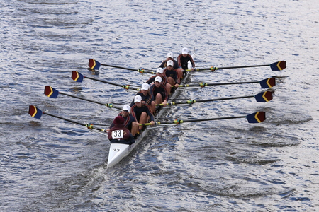 coed: BOSTON - OCTOBER 18, 2015: Pittsford Crew races in the Head of Charles Regatta Womens Youth Eights Editorial