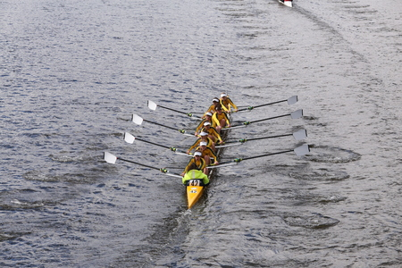 eights: Ann Arbor Huronraces in the Head of Charles Regatta Womens Youth Eights BOSTON - OCTOBER 18, 2015