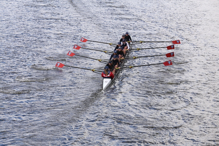 sculling: Three Riversraces in the Head of Charles Regatta Womens Youth Eights BOSTON - OCTOBER 18, 2015