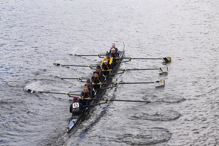 eights: Dallas Unitedraces in the Head of Charles Regatta Womens Youth Eights BOSTON - OCTOBER 18, 2015