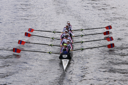 eights: St. Catharinesraces in the Head of Charles Regatta Womens Youth Eights BOSTON - OCTOBER 18, 2015