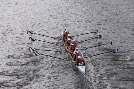 sculling: Sarasota Crew races in the Head of Charles Regatta Womens Youth Eights BOSTON - OCTOBER 18, 2015