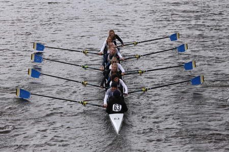 eights: BOSTON - OCTOBER 18, 2015: Treasure Coast Crew races in the Head of Charles Regatta Mens Master Eights