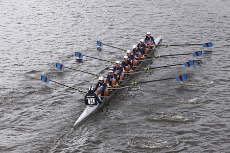 eights: Riverside races in the Head of Charles Regatta Womens Youth Eights BOSTON - OCTOBER 18, 2015