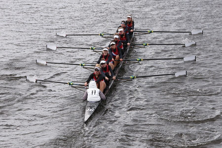 eights: Austin races in the Head of Charles Regatta Womens Youth Eights BOSTON - OCTOBER 18, 2015