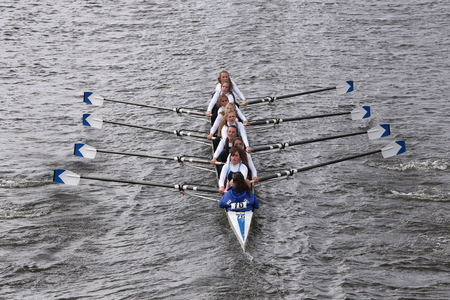 eights: Our Lady of Mercy races in the Head of Charles Regatta Womens Youth Eights BOSTON - OCTOBER 18, 2015