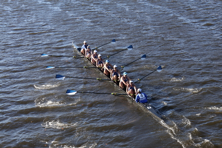 BOSTON - OCTOBER 23, 2016: Wellesley College aces in the Head of Charles Regatta Womens Collegiate Eights