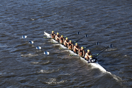 BOSTON - OCTOBER 23, 2016: Ithaca College races in the Head of Charles Regatta Womens Collegiate Eights Editorial