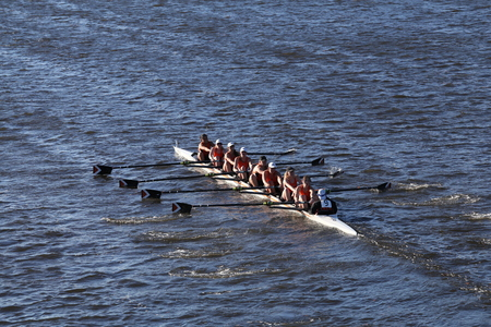 eights: BOSTON - OCTOBER 23, 2016: RIT races in the Head of Charles Regatta Womens Collegiate Eights