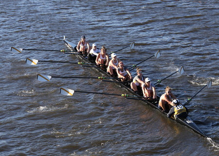 eights: BOSTON - OCTOBER 23, 2016: Trinity College races in the Head of Charles Regatta Womens Collegiate Eights