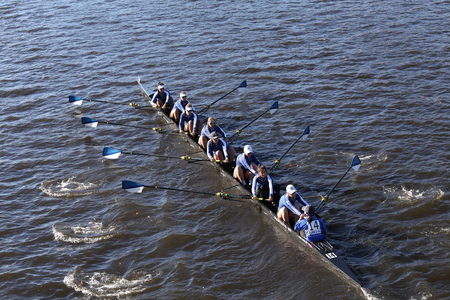 BOSTON - OCTOBER 23, 2016: Wellesley College races in the Head of Charles Regatta Womens Collegiate Eights