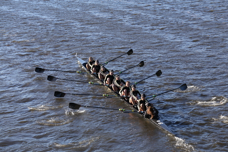 BOSTON - OCTOBER 23, 2016: West Point races in the Head of Charles Regatta Womens Collegiate Eights