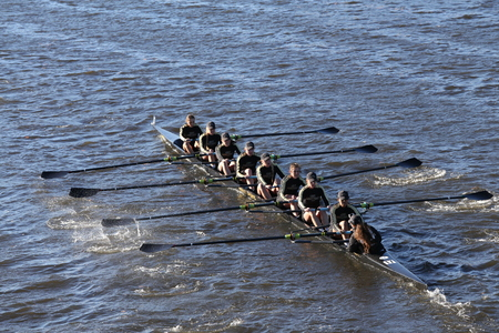 eights: BOSTON - OCTOBER 23, 2016: West Point races in the Head of Charles Regatta Womens Collegiate Eights